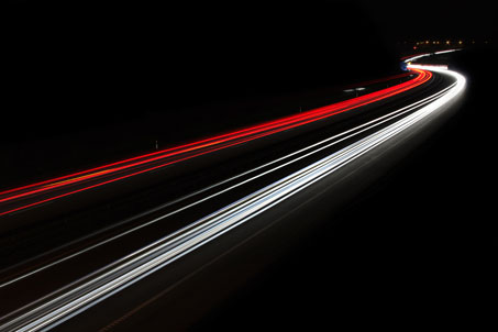 Blurred light trails